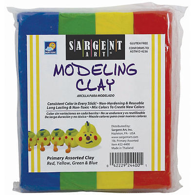 BULK Sargent Art Primary Colors Modeling Clay, 12 PACKAGES  CASE