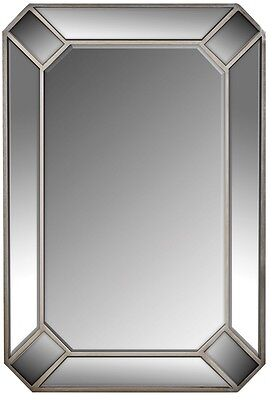Art Deco Style LARGE Silver Bevelled Angled Rectangle Mirror NEW Hall Bathroom