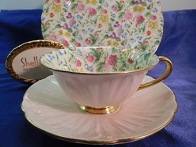"Shelley Countryside Footed Oleander Cup, Saucer And Ripon 8"" Plate  Trio  #13700"
