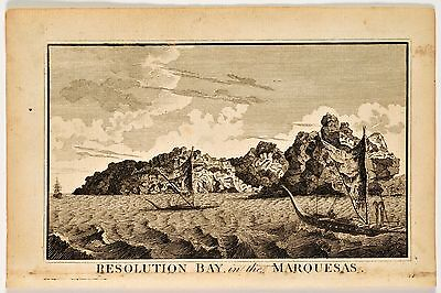 Antique print from Captain Cook's Voyages, of Resolution Bay in the Marquesas.