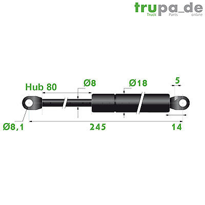 Gasdruckfeder Lift Haubenheber 300N Hub=80 Länge 245/260 Ø 8/18 mm - Made in EU