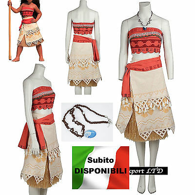Vaiana Vestito Carnevale Donna Bambina Cosplay Dress Moana Costume VAIDR02