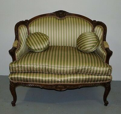Vtg French Provincial Louis XV Style Carved Solid Wood Loveseat Settee Sofa