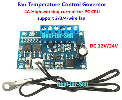 DC 12V 24V 4A PWM PC CPU Fan Temperature Control Thermostat Speed Controller