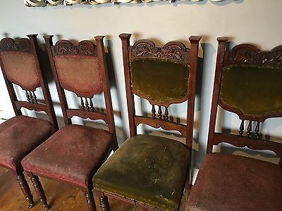 Antique Set Of 4 Dinning Room Chairs For Restoration/ Reupholstering