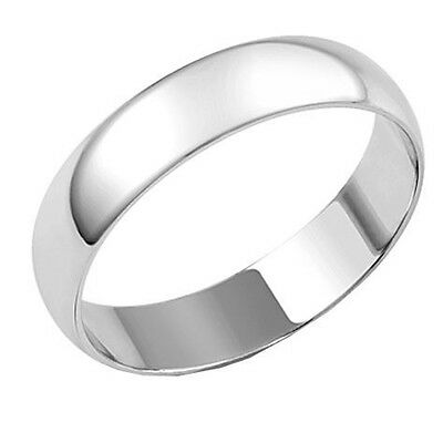 Mens Sterling Silver 5mm D section wedding Band Ring Size X Jewellery