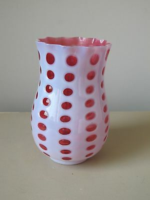 Fenton for LG Wright Cranberry Opalescent Eye Dot Vase, Vintage Glass