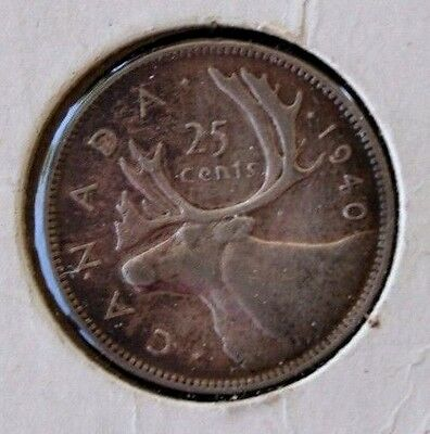 Canada 1940 25 cents  Silver
