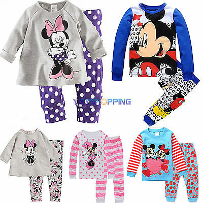 Children Mickey Cartoon Baby Kids Girls Nightwear Pajamas Pyjamas Sleepwear Suit