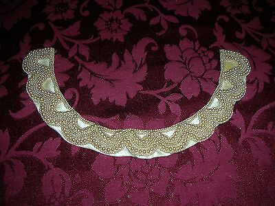 Vintage Beaded Faux Pearl Neck Collar Satin Back Sally Gee Fashion Japan
