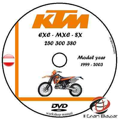 Manuale Officina Ktm Sx Exc Mxc 250 300 380 My 1999-2003 Workshop Manual Dvd