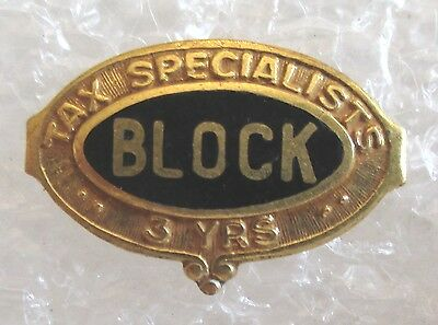 Vintage Block Tax Specialists 3 Year Employee Service Award Pin - H & R Block