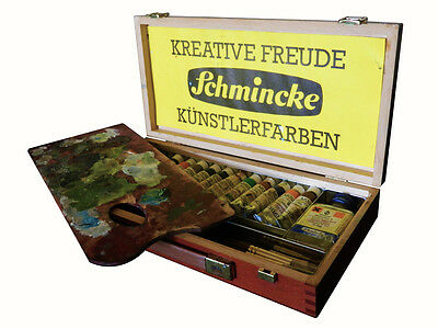 Vintage Schminke Mussini Resin Oil Colour Paint Box with Mongoose hair brushes