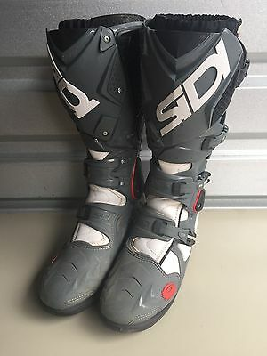 Sidi Crossfire 2 SRS Size US 8.5 EUR 42 Grey Black Motocross Boots FOX GAERNE