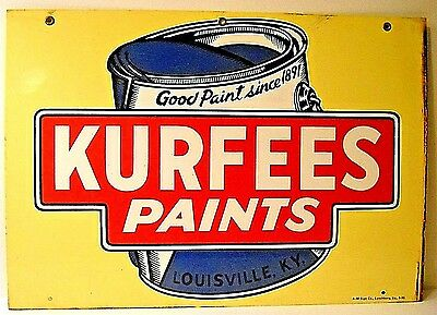 Vintage Kurfees Paints Tin Sign With Paint Can * Very Good Condition