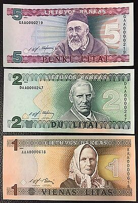 Lithuania 1,2,5 Litai 1993-94 3pcs first prefix LOW SERIE banknotes uncirculated