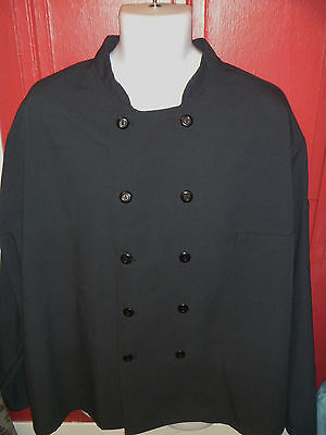 BEST BLACK CHEF COAT jacket Unisex XXL 54 double breasted FRONT POCKET polyester