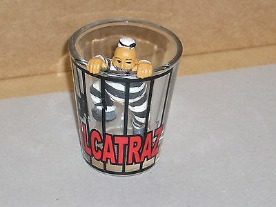 Shot glass Alcatraz Jail San Francisco USA with escaping prisoner figure