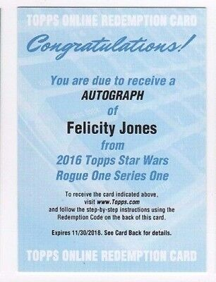 2016 Star Wars Rogue One series 1 autograph card Felicity Jones redemption