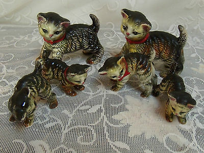 Vintage Antique Japanese Nagoya Nippon Cat Family Of 6  Marked  Very Rare