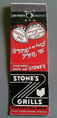 STONE'S GRILLS SERVING ALL OHIO Matchbook Matchcover