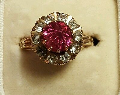 Antique 10K Gold Ruby And Diamond Paste Ring 6.5