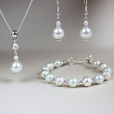 White pearl necklace bracelet earrings silver wedding bridesmaid jewellery set