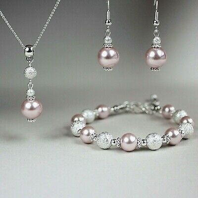 Blush pink pearl necklace bracelet earrings silver wedding bridal jewellery set