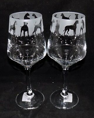 """New Etched """"BOXER DOG WINE GLASS(ES)"""" - Optional Gift Box - Fantastic Gift"""