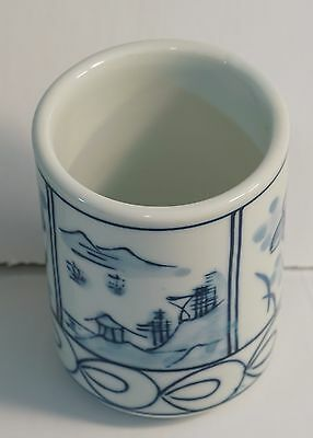 Japanese Porcelain Sake / Tea Cup - Vintage Hand drawn scenery Blue on white