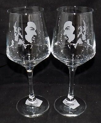 """New Etched """"GEORGE MICHAEL WINE GLASS(ES)"""" - Choice of 1 or 2 Optional Gift Box"""