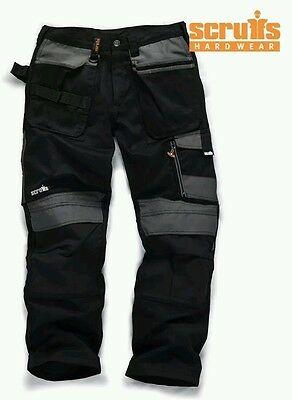 ^2% SCRUFFS WORK TROUSERS 3D Trade BLACK With Cordura & KNEE PAD PO.