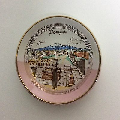 """Pompey New York Decorative Souvenir Mini Plate Hand Made 24K Gold~3.50"""" inches"""
