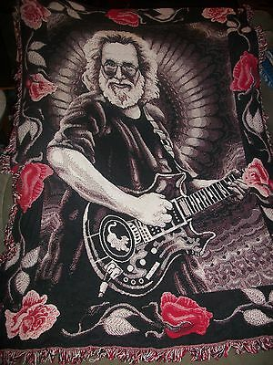 Original Grateful Dead Jerry Garcia 2 Sided Blanket/Throw Mint! Vibrant Colors