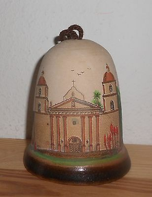 1999 Mission Santa Barbara Adobe Clay Hand Painted Souvenir Collectible Bell