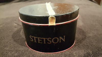 VINTAGE Gift Certificate Tin Stetson MINIATURE Red Hat