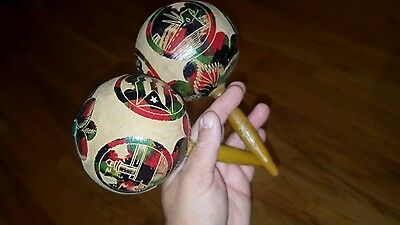 HABANA CUBA COLORFUL Wood Maracas Musical Shakers Instrument Set LOOK!