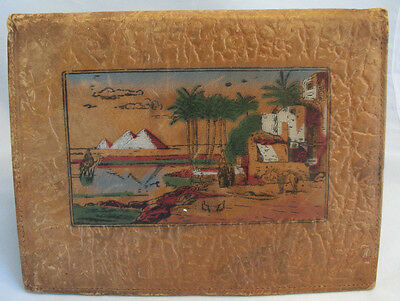 1950s 60s Handcrafted Embossed Painted Leather Egypt Pyramids Photo Folio Wallet
