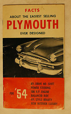 PLYMOUTH CANADA FACTS 1954 brochure sales catalog - CANADIAN MARKET
