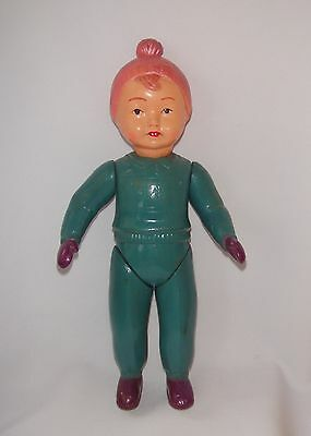 Vintage Soviet Russian USSR celluloid doll toy baby Boy Skier 1950s marking