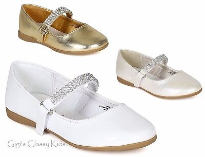 New Girls Gold White Shiny Ivory Dress Shoes Flats Rhinestones Wedding Kids