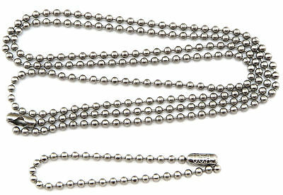 "Military Dog Tag Stainless Steel Ball Chain Set (30"" + 5"") USA MADE"