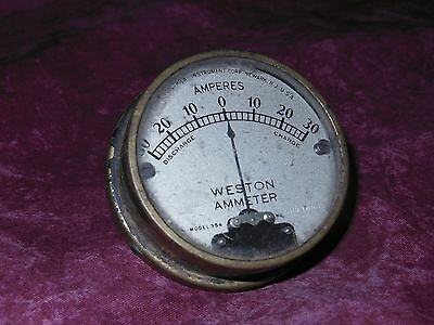 "Antique Weston 354 Ammeter  Surface Mount  2""  Antique Motorcycle, Etc."