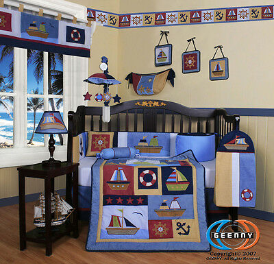 Baby Boutique Boy Sailor GEENNY 13PCS Nursery CRIB BEDDING SET