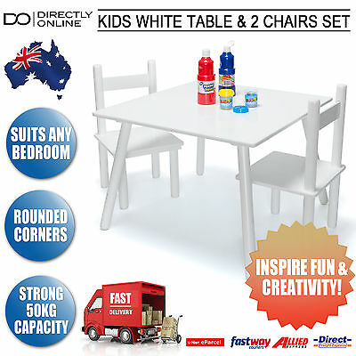 Kids White Table & 2 Chairs Set Childrens Activity Indoor Furniture 3 yrs + New