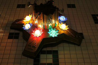 Vintage Lighted Cast Iron Christmas Tree Stand Art Deco Style C6 Lites Free Ship