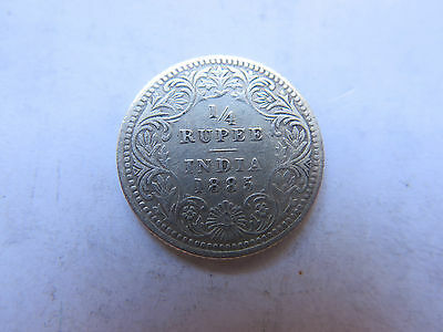 1885 INDIA SILVER 1/4 RUPEE in NICE COLLECTABLE CONDITION QUEEN VICTORIA