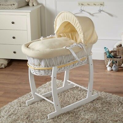 White Wicker Cream Waffle Moses Basket And White Rocking Stand