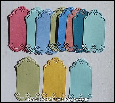 Tag Die Cuts X 10,card Making,embellishments,album,girls,scalloped,toppers,mum
