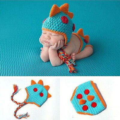 Newborn Baby Boy Crochet Knit Costume Photo Photography Prop Outfits Dinosaur